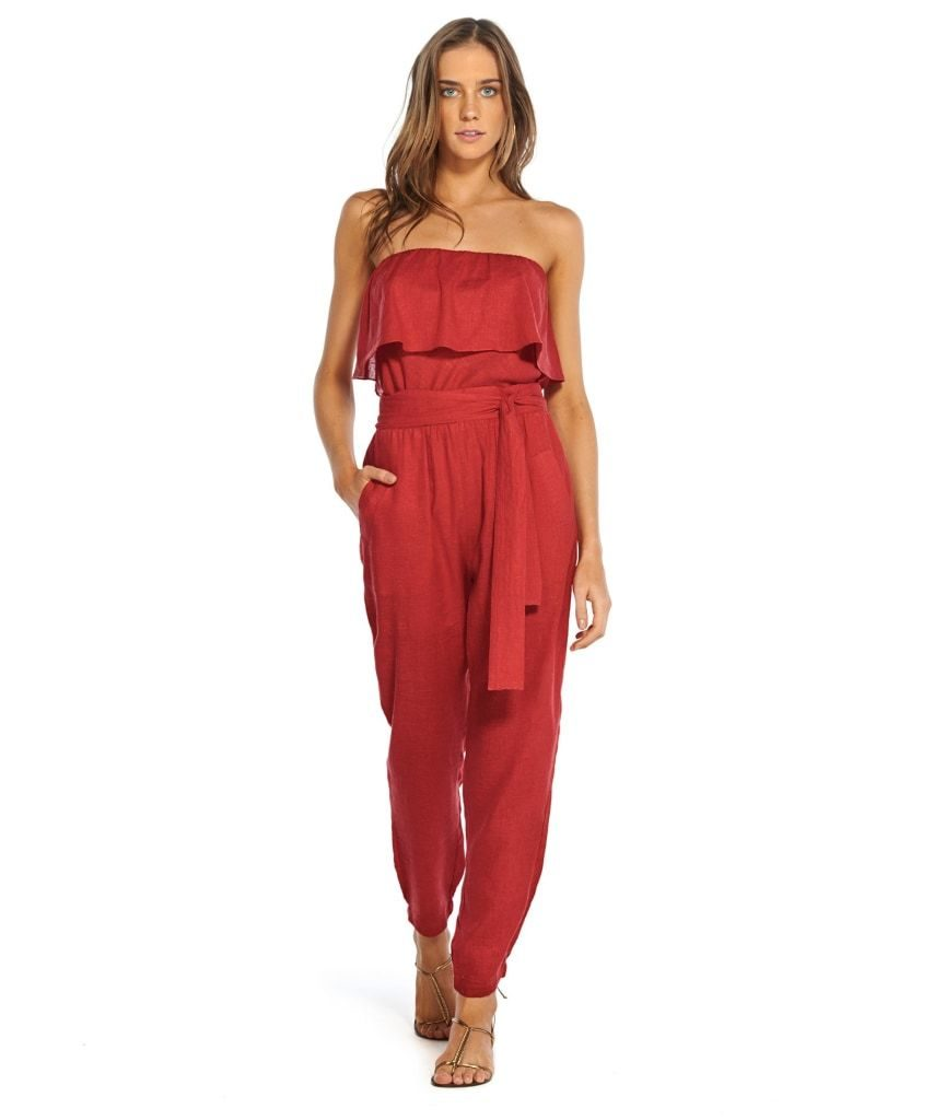 ViX Swimwear Womens Divino Madi Strapless Flounce Jumpsuit Swim Cover Up